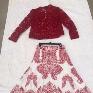 Red Lace Jacket and Coordinating Skirt